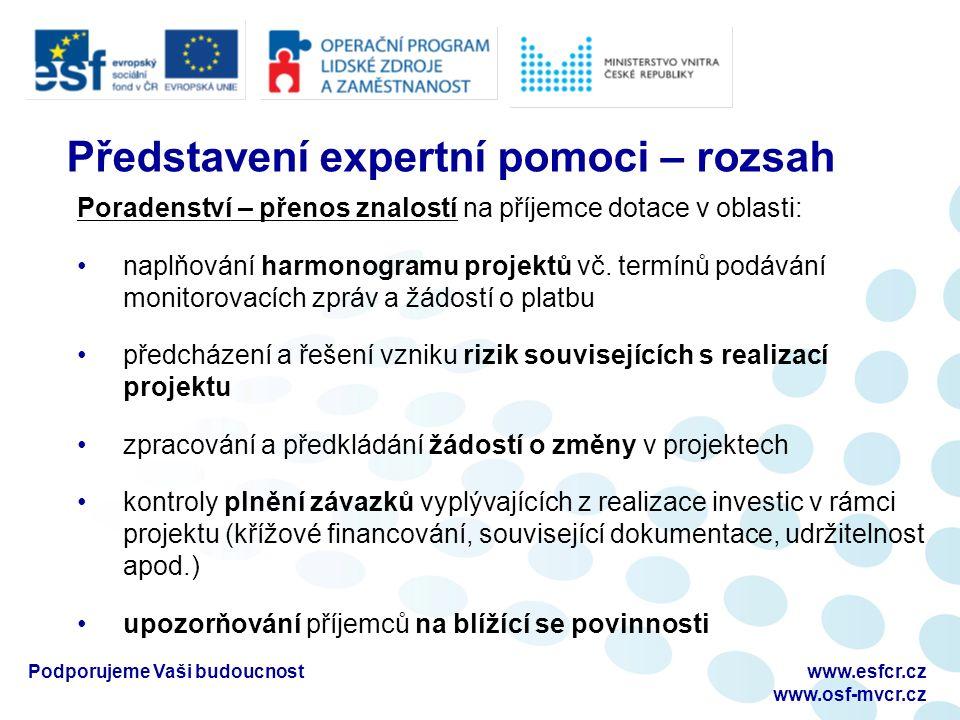 Podporujeme Vaši budoucnostwww.esfcr.cz www.osf-mvcr.cz Představení expertní pomoci – rozsah Poradenství – přenos znalostí na příjemce dotace v oblasti: naplňování harmonogramu projektů vč.