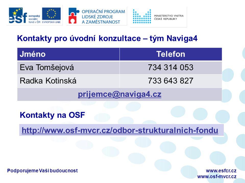 Podporujeme Vaši budoucnostwww.esfcr.cz www.osf-mvcr.cz Kontakty pro úvodní konzultace – tým Naviga4 JménoTelefon Eva Tomšejová734 314 053 Radka Kotinská733 643 827 prijemce@naviga4.cz Kontakty na OSF http://www.osf-mvcr.cz/odbor-strukturalnich-fondu
