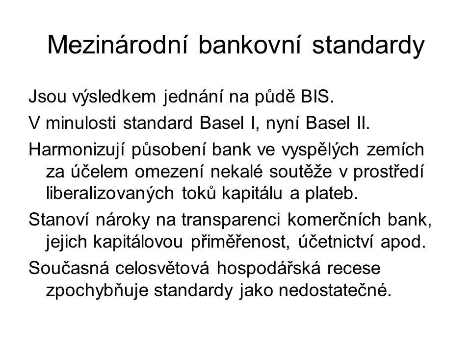 Mezinárodní bankovní standardy Jsou výsledkem jednání na půdě BIS.