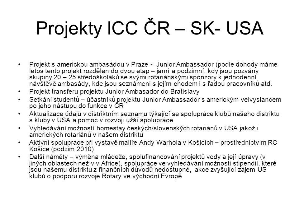 Projekty ICC ČR – SK- USA Projekt s americkou ambasádou v Praze - Junior Ambassador (podle dohody máme letos tento projekt rozdělen do dvou etap – jarní a podzimní, kdy jsou pozvány skupiny 20 – 25 středoškoláků se svými rotariánskými sponzory k jednodenní návštěvě ambasády, kde jsou seznámeni s jejím chodem i s řadou pracovníků atd.