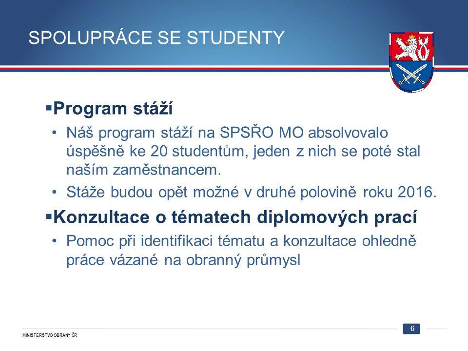 MINISTERSTVO OBRANY ČR SPOLUPRÁCE SE STUDENTY  Program stáží Náš program stáží na SPSŘO MO absolvovalo úspěšně ke 20 studentům, jeden z nich se poté stal naším zaměstnancem.
