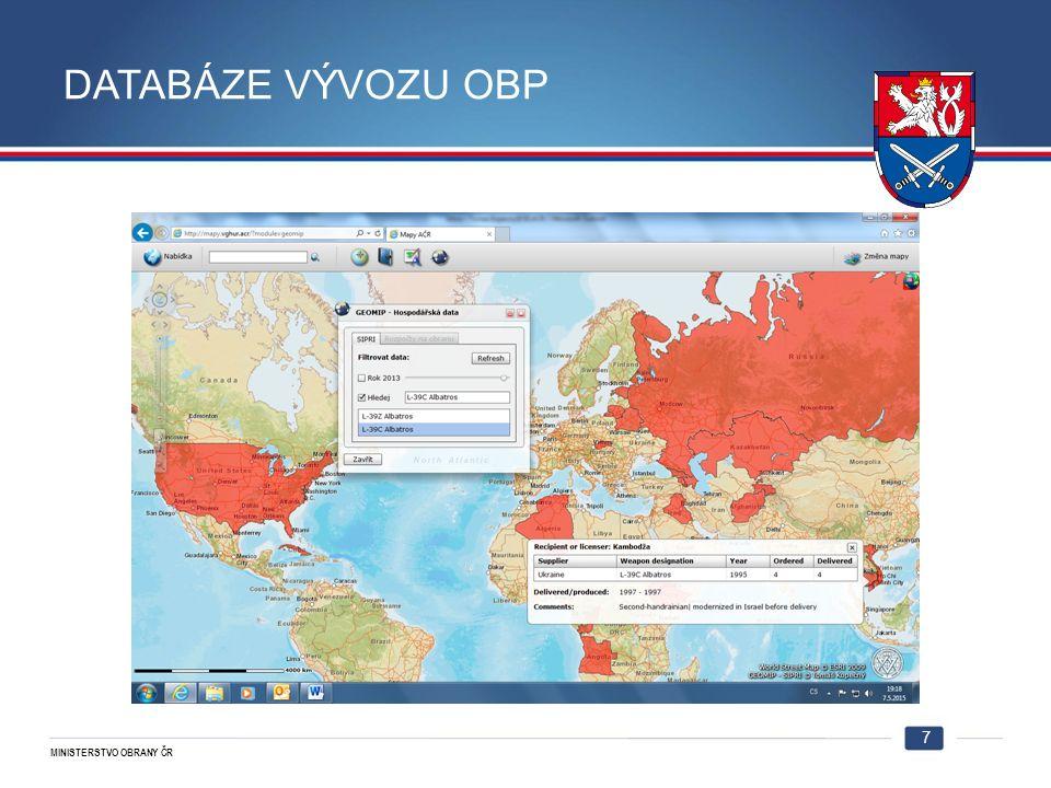 MINISTERSTVO OBRANY ČR DATABÁZE VÝVOZU OBP 7