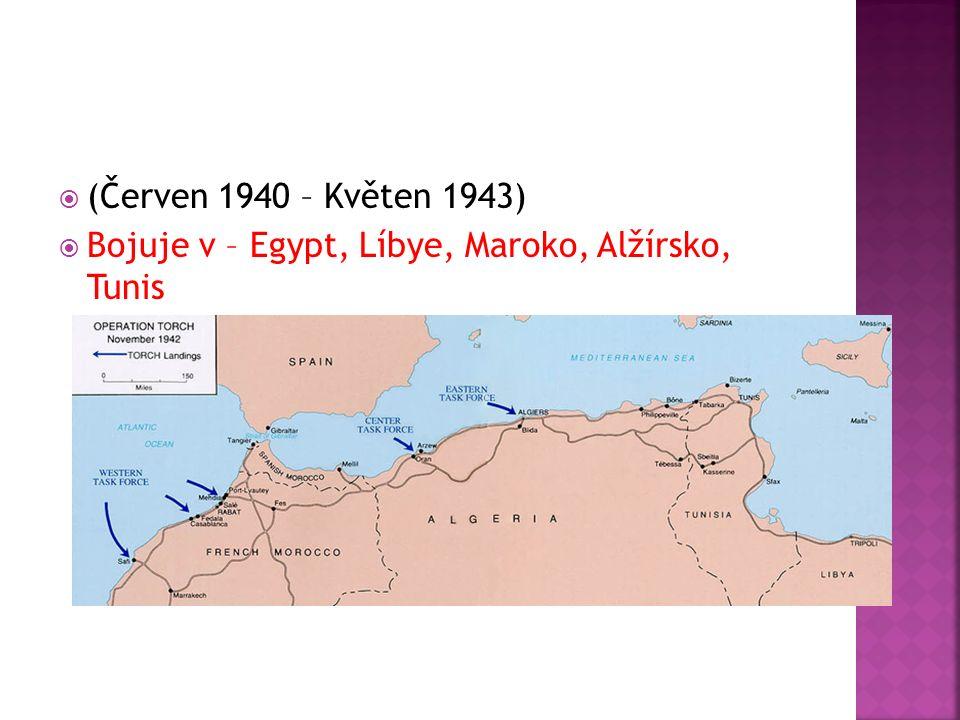  (Červen 1940 – Květen 1943)  Bojuje v – Egypt, Líbye, Maroko, Alžírsko, Tunis