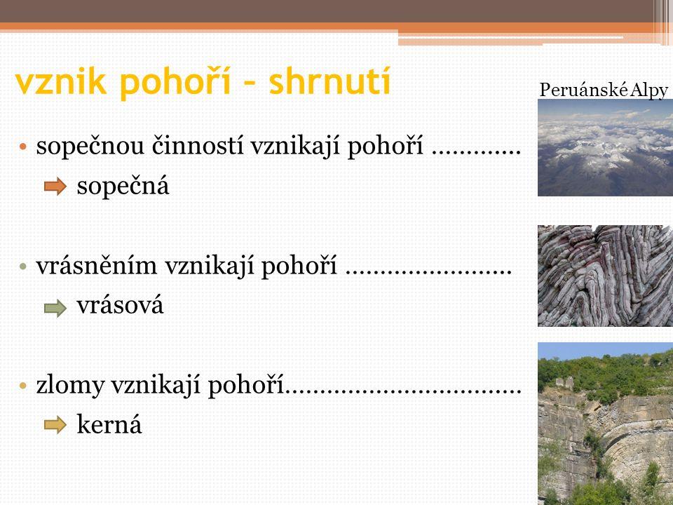 otázky 1.Jaké jsou základní způsoby vzniku pohoří.
