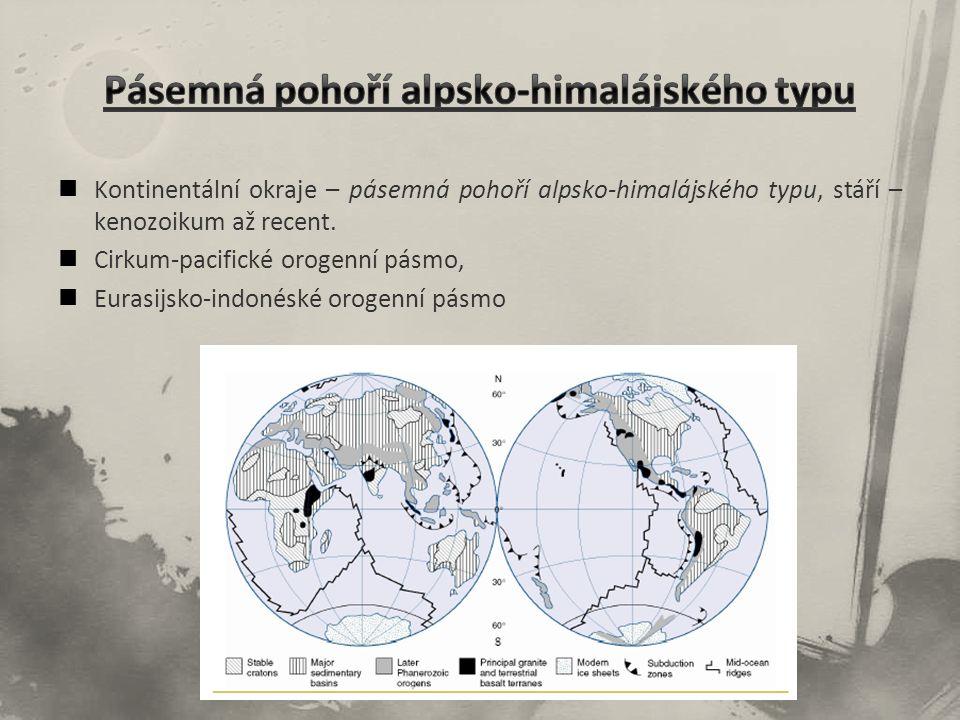 Kontinentální okraje – pásemná pohoří alpsko-himalájského typu, stáří – kenozoikum až recent.