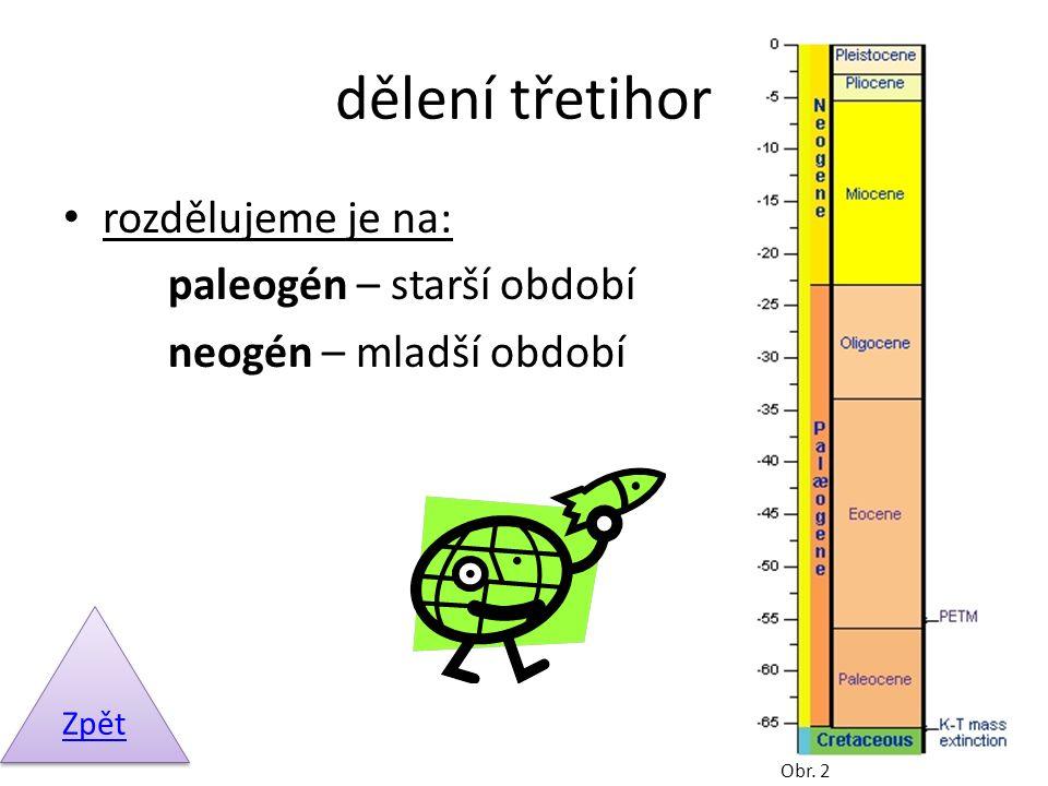 dělení třetihor rozdělujeme je na: paleogén – starší období neogén – mladší období Zpět Obr. 2