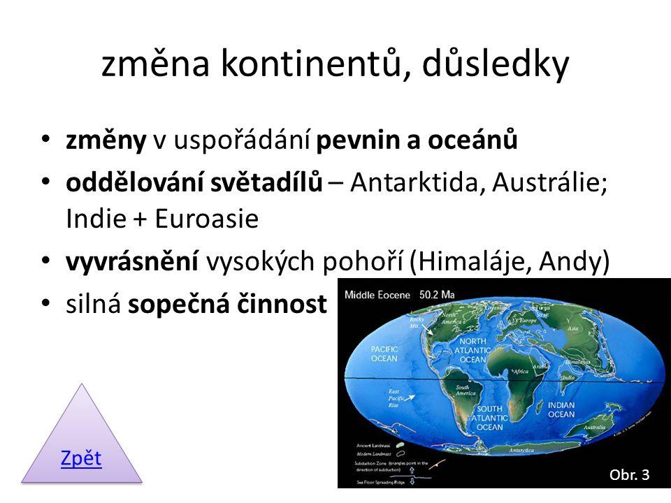 změna kontinentů, důsledky změny v uspořádání pevnin a oceánů oddělování světadílů – Antarktida, Austrálie; Indie + Euroasie vyvrásnění vysokých pohoř
