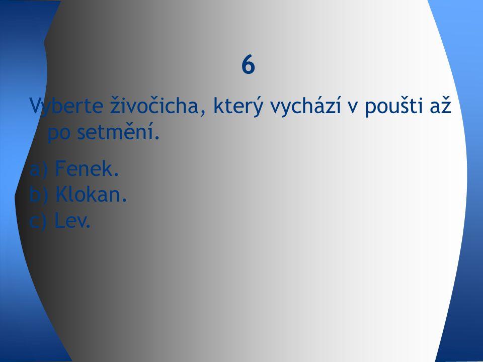 Vyberte živočicha, který vychází v poušti až po setmění. a) Fenek. b) Klokan. c) Lev. 6