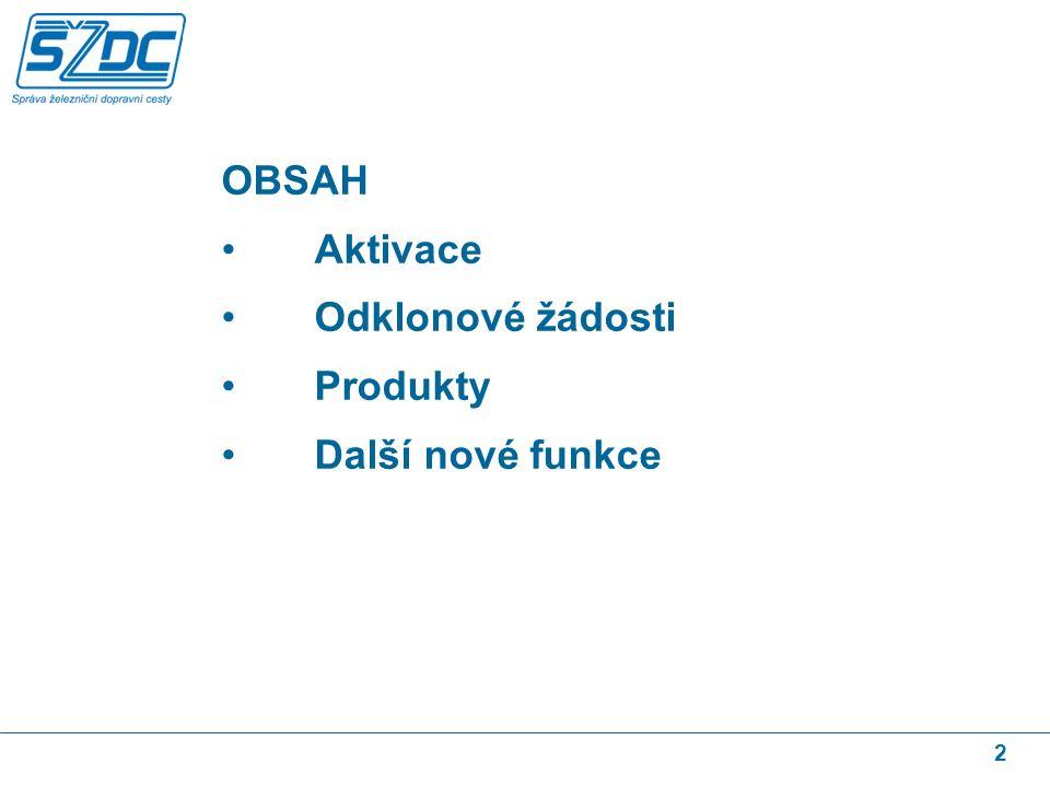 2 OBSAH Aktivace Odklonové žádosti Produkty Další nové funkce
