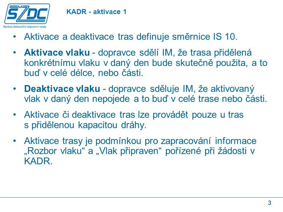 3 Aktivace a deaktivace tras definuje směrnice IS 10. Aktivace vlaku - dopravce sdělí IM, že trasa přidělená konkrétnímu vlaku v daný den bude skutečn