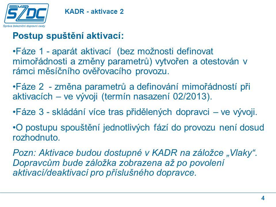 5 Nasazeno 23.11.2012 Dopravce může požádat o odklon u tras s přidělenou kapacitou dráhy.