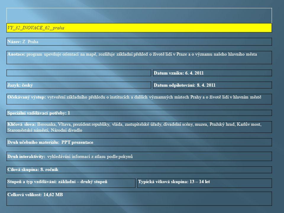 VY_32_INOVACE_62_ praha Název: Z Praha Anotace: program upevňuje orientaci na mapě, rozšiřuje základní přehled o životě lidí v Praze a o významu našeho hlavního města Datum vzniku: 6.