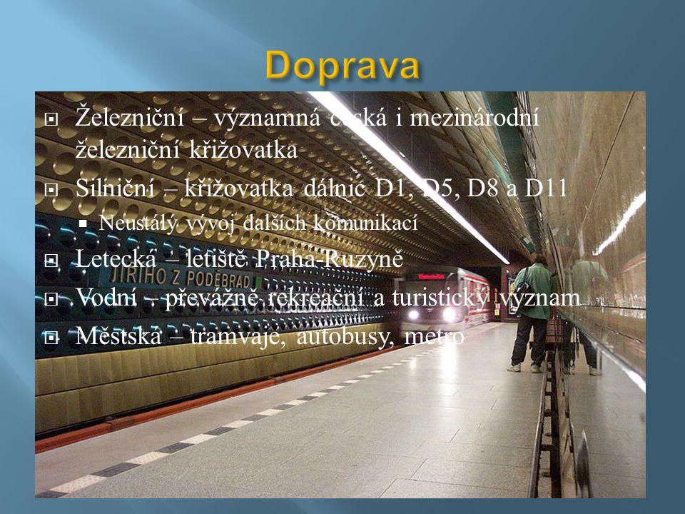  Železniční – významná česká i mezinárodní železniční křižovatka  Silniční – křižovatka dálnic D1, D5, D8 a D11  Neustálý vývoj dalších komunikací  Letecká – letiště Praha-Ruzyně  Vodní – převážně rekreační a turistický význam  Městská – tramvaje, autobusy, metro