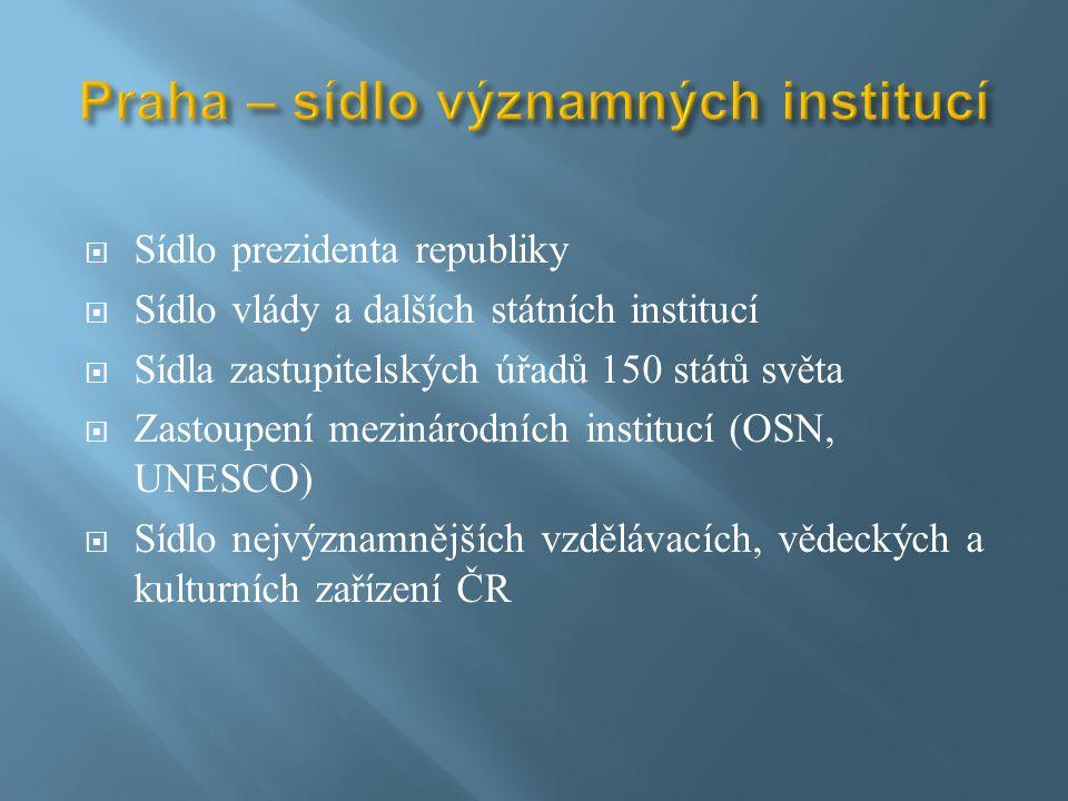  Sídlo prezidenta republiky  Sídlo vlády a dalších státních institucí  Sídla zastupitelských úřadů 150 států světa  Zastoupení mezinárodních institucí (OSN, UNESCO)  Sídlo nejvýznamnějších vzdělávacích, vědeckých a kulturních zařízení ČR