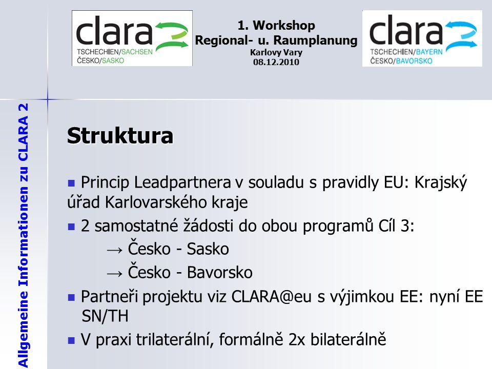 Allgemeine Informationen zu CLARA 2 1. Workshop Regional- u. Raumplanung Karlovy Vary 08.12.2010 Struktura Princip Leadpartnera v souladu s pravidly E