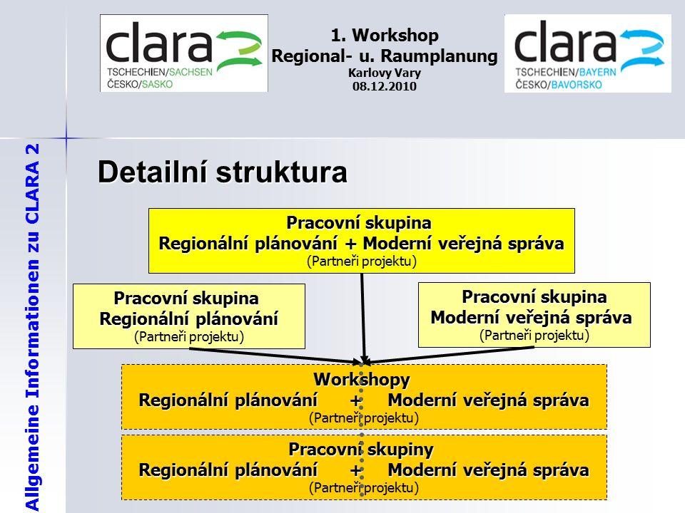 Allgemeine Informationen zu CLARA 2 1. Workshop Regional- u. Raumplanung Karlovy Vary 08.12.2010 Detailní struktura Pracovní skupina Regionální plánov