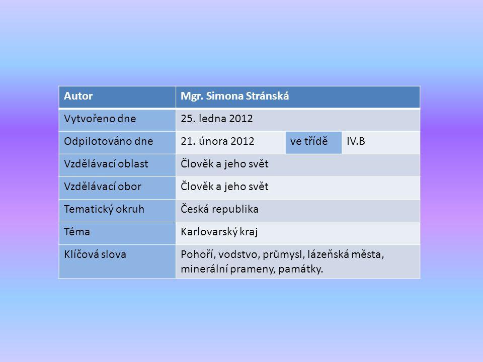 AutorMgr. Simona Stránská Vytvořeno dne25. ledna 2012 Odpilotováno dne21.