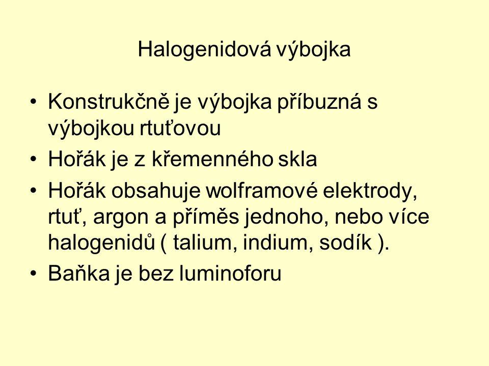 Halogenidová výbojka Konstrukčně je výbojka příbuzná s výbojkou rtuťovou Hořák je z křemenného skla Hořák obsahuje wolframové elektrody, rtuť, argon a příměs jednoho, nebo více halogenidů ( talium, indium, sodík ).