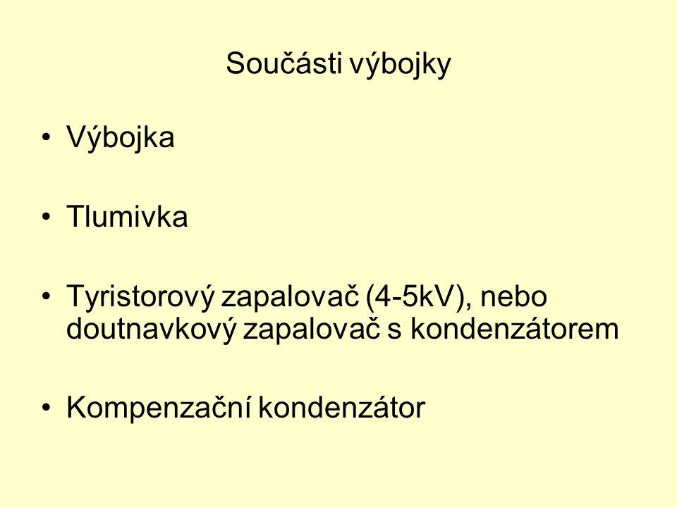 Součásti výbojky Výbojka Tlumivka Tyristorový zapalovač (4-5kV), nebo doutnavkový zapalovač s kondenzátorem Kompenzační kondenzátor
