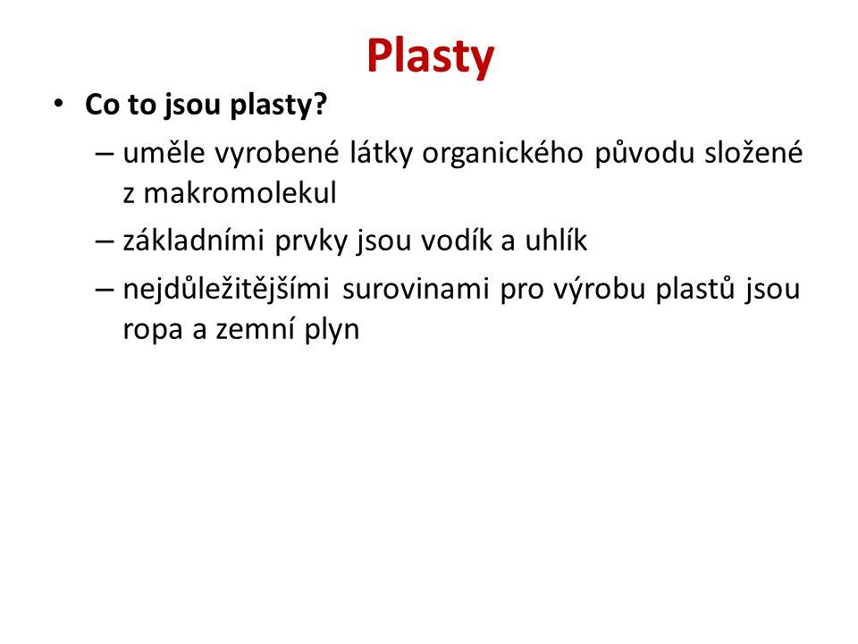 Plasty Co to jsou plasty? – uměle vyrobené látky organického původu složené z makromolekul – základními prvky jsou vodík a uhlík – nejdůležitějšími su