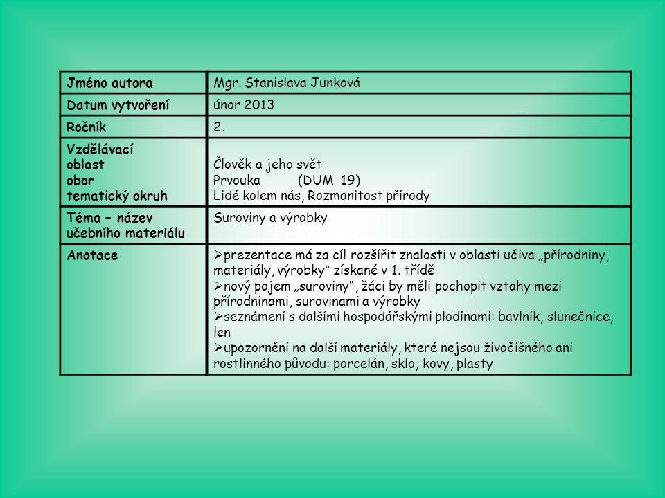 Jméno autoraMgr. Stanislava Junková Datum vytvořeníúnor 2013 Ročník2. Vzdělávací oblast obor tematický okruh Člověk a jeho svět Prvouka (DUM 19) Lidé