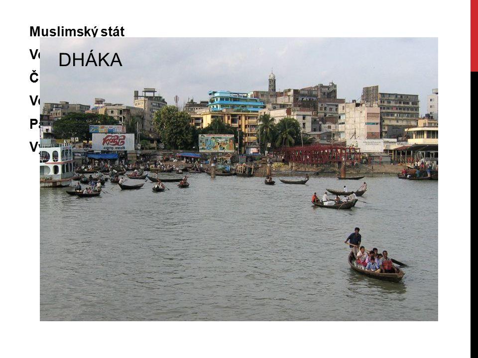Muslimský stát Ve společné deltě Gangy a Brahmaputry = velmi úrodná půda Časté katastrofální záplavy a tajfuny Velmi hustě osídlené území Patří mezi n