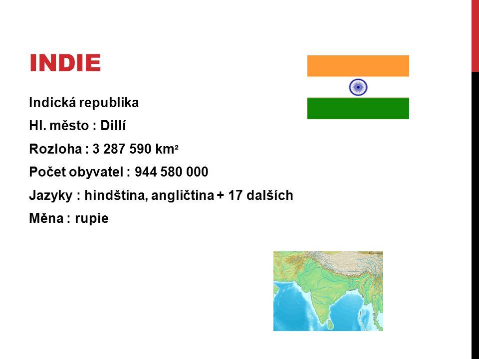 INDIE Indická republika Hl. město : Dillí Rozloha : 3 287 590 km ² Počet obyvatel : 944 580 000 Jazyky : hindština, angličtina + 17 dalších Měna : rup