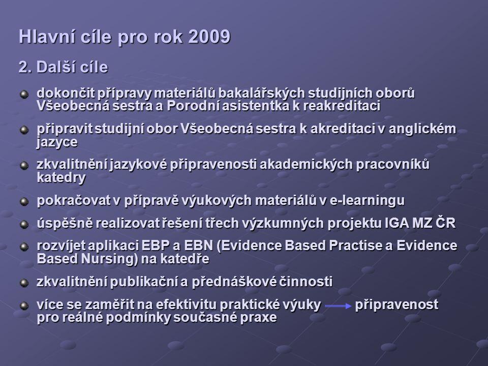 Hlavní cíle pro rok 2009 2.