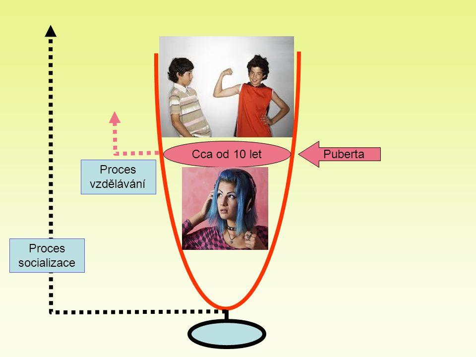 Cca od 10 let Puberta Proces socializace Proces vzdělávání