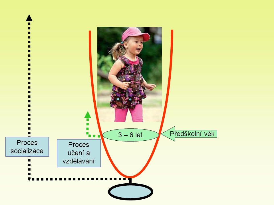 3 – 6 let Předškolní věk Proces socializace Proces učení a vzdělávání