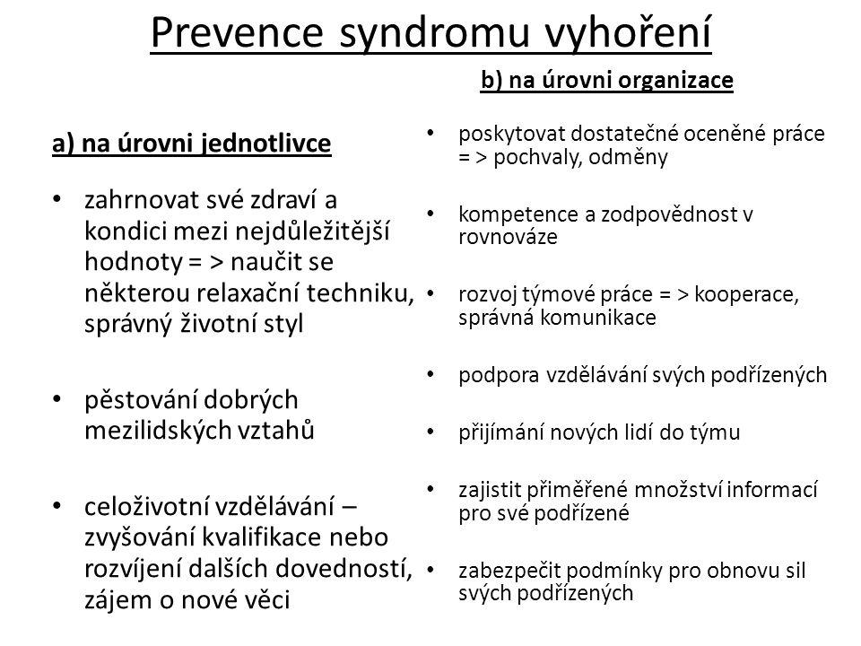 Prevence syndromu vyhoření a) na úrovni jednotlivce zahrnovat své zdraví a kondici mezi nejdůležitější hodnoty = > naučit se některou relaxační techni
