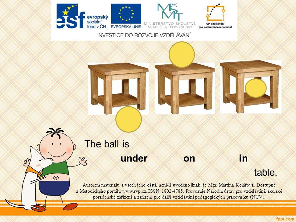 The ball is under on in table. Autorem materiálu a všech jeho částí, není-li uvedeno jinak, je Mgr.