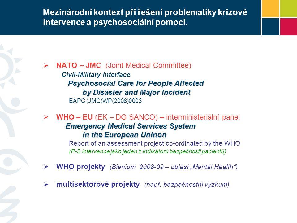 Mezinárodní kontext při řešení problematiky krizové intervence a psychosociální pomoci.  NATO – JMC (Joint Medical Committee) Civil-Military Interfac