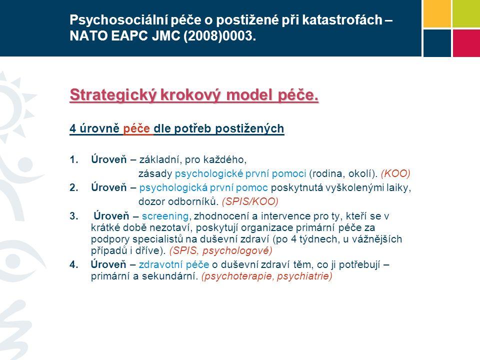 Psychosociální péče o postižené při katastrofách – NATO EAPC JMC (2008)0003. Strategický krokový model péče. 4 úrovně péče dle potřeb postižených  Ú