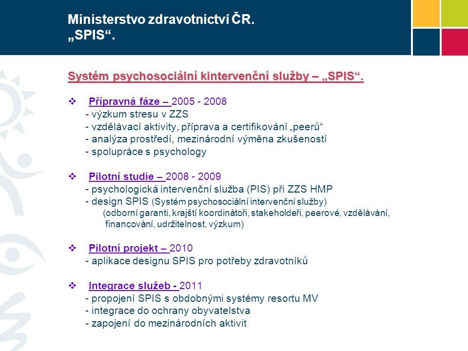 """Ministerstvo zdravotnictví ČR. """"SPIS"""". Systém psychosociální kintervenční služby – """"SPIS"""".  Přípravná fáze – 2005 - 2008 - výzkum stresu v ZZS - vzdě"""