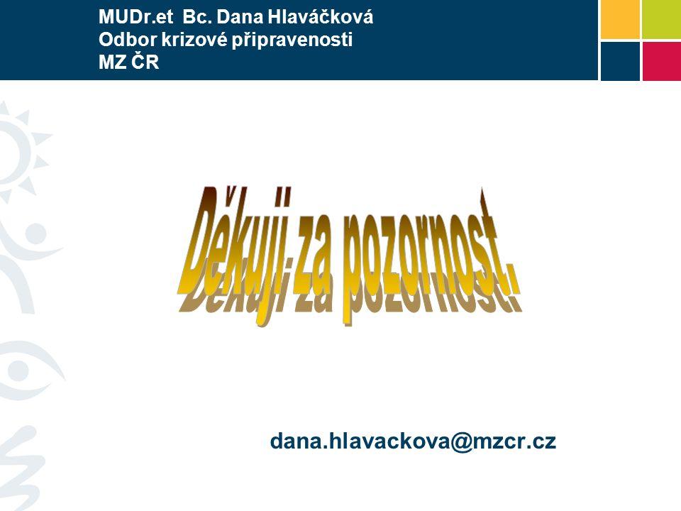 MUDr.et Bc. Dana Hlaváčková Odbor krizové připravenosti MZ ČR dana.hlavackova@mzcr.cz