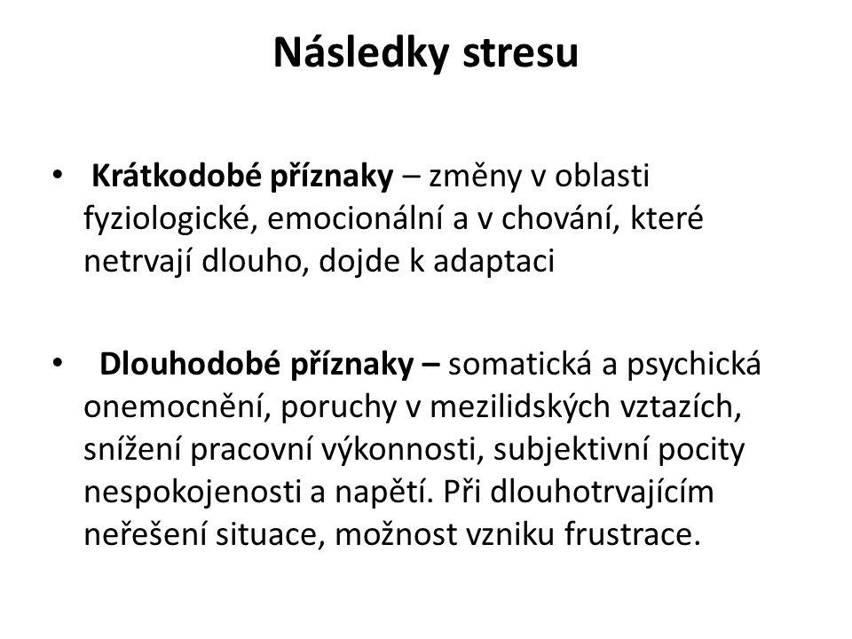 Následky stresu Krátkodobé příznaky – změny v oblasti fyziologické, emocionální a v chování, které netrvají dlouho, dojde k adaptaci Dlouhodobé příznaky – somatická a psychická onemocnění, poruchy v mezilidských vztazích, snížení pracovní výkonnosti, subjektivní pocity nespokojenosti a napětí.