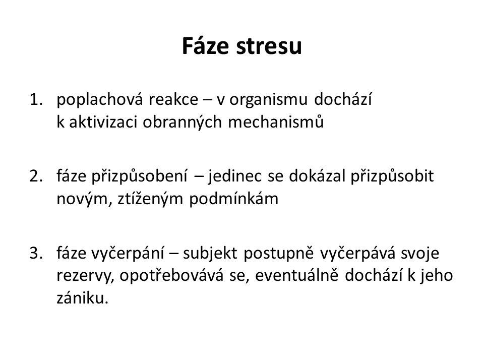 Fáze stresu 1.poplachová reakce – v organismu dochází k aktivizaci obranných mechanismů 2.fáze přizpůsobení – jedinec se dokázal přizpůsobit novým, ztíženým podmínkám 3.fáze vyčerpání – subjekt postupně vyčerpává svoje rezervy, opotřebovává se, eventuálně dochází k jeho zániku.