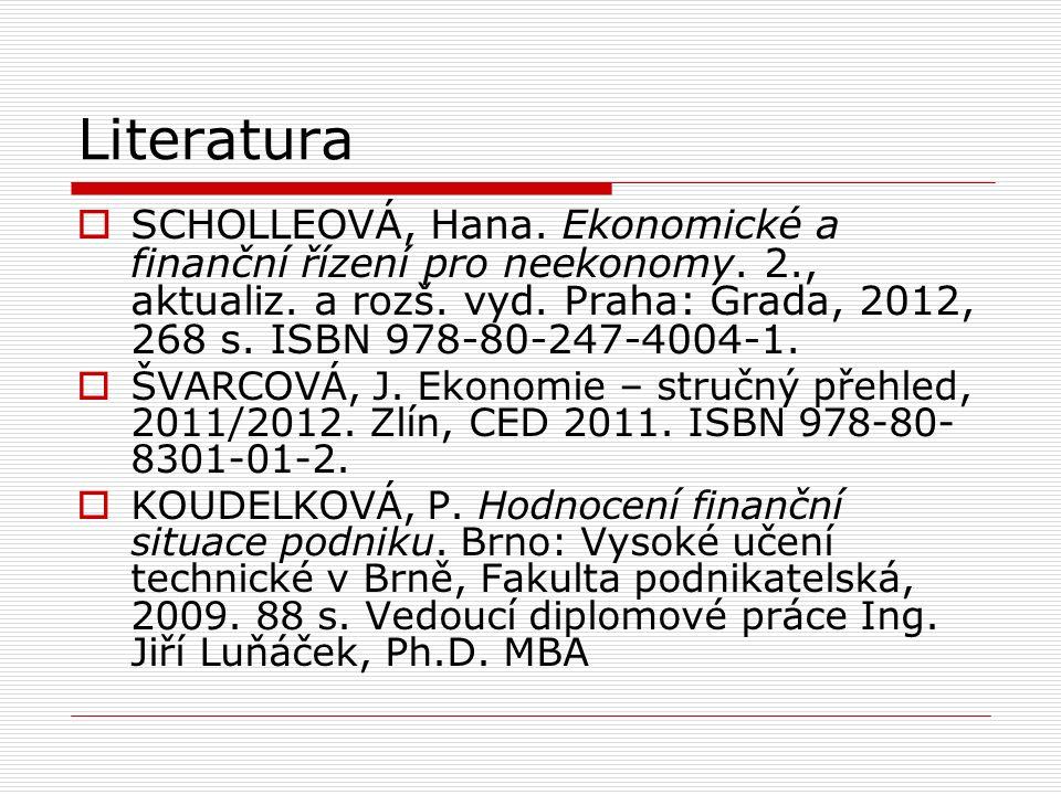 Literatura  SCHOLLEOVÁ, Hana. Ekonomické a finanční řízení pro neekonomy.