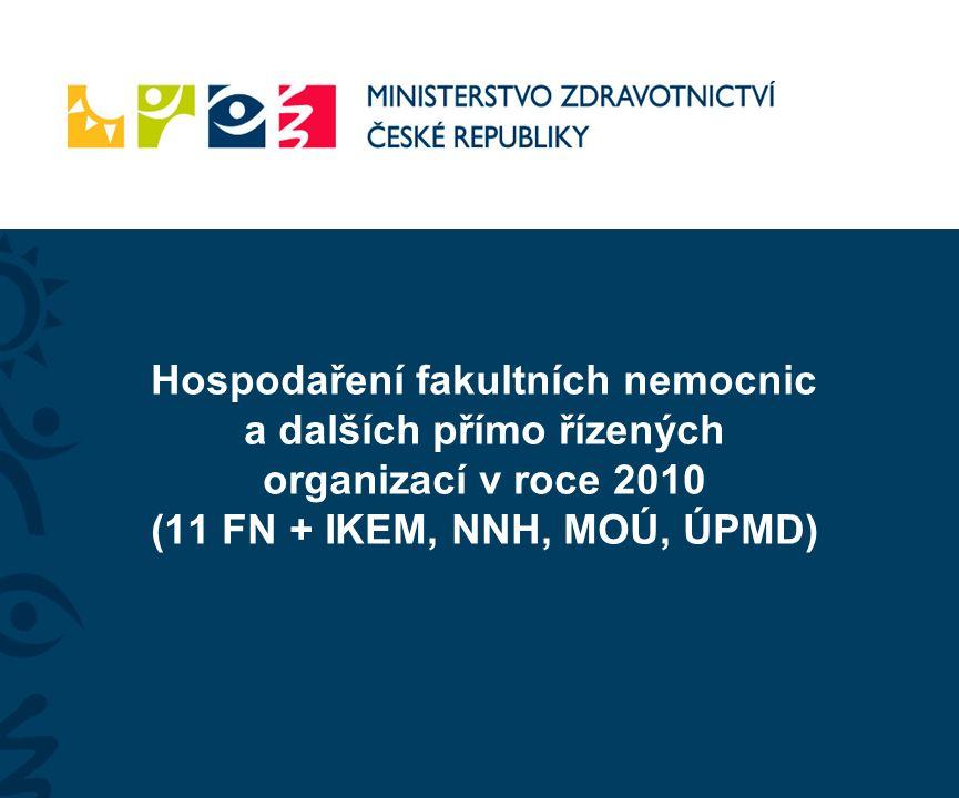 Hospodaření fakultních nemocnic a dalších přímo řízených organizací v roce 2010 (11 FN + IKEM, NNH, MOÚ, ÚPMD)