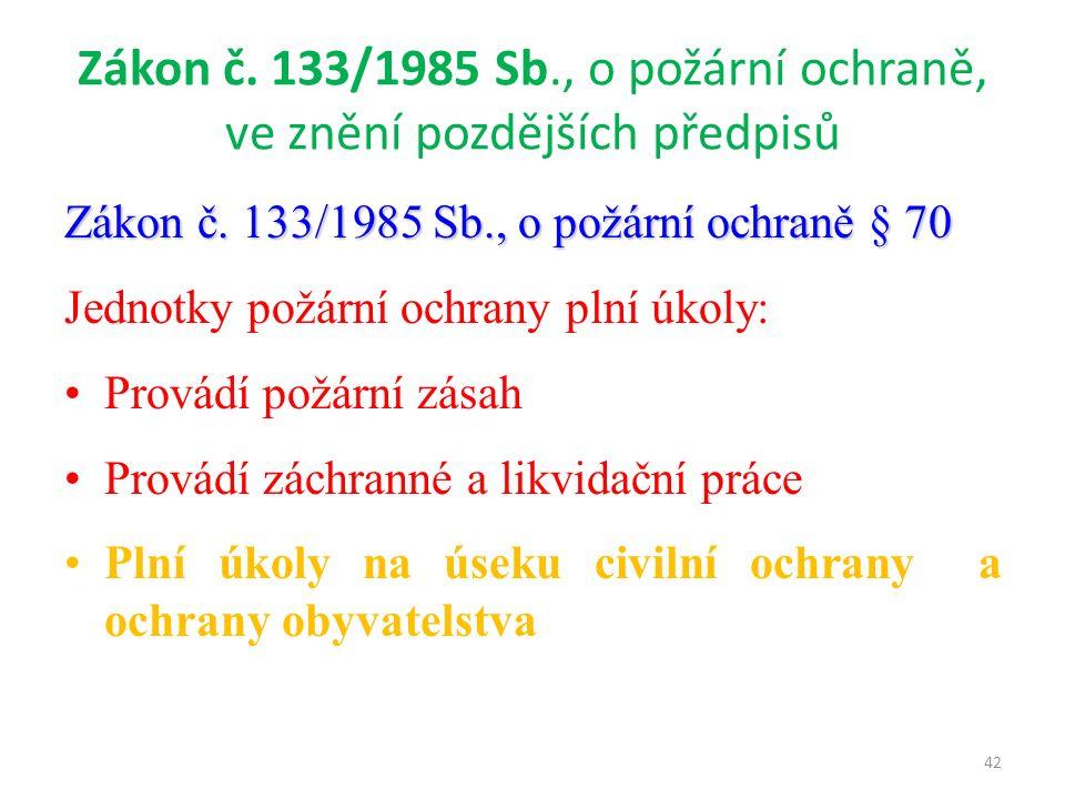 Zákon č. 133/1985 Sb., o požární ochraně, ve znění pozdějších předpisů Zákon č.