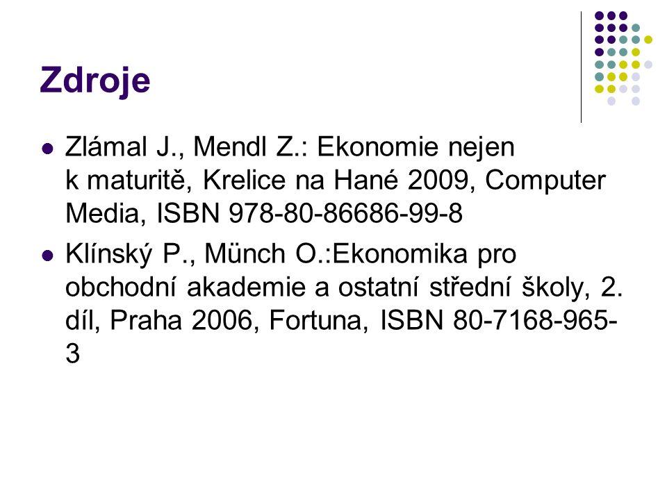 Zdroje Zlámal J., Mendl Z.: Ekonomie nejen k maturitě, Krelice na Hané 2009, Computer Media, ISBN 978-80-86686-99-8 Klínský P., Münch O.:Ekonomika pro obchodní akademie a ostatní střední školy, 2.