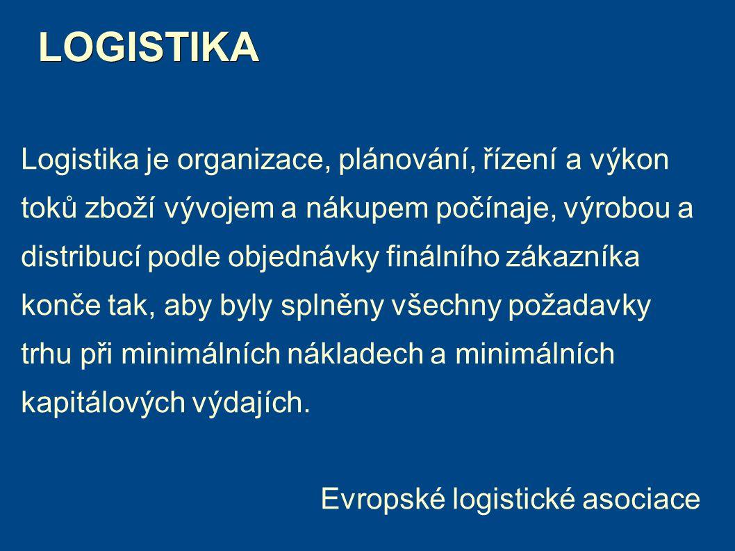 LOGISTIKA LOGISTIKA Logistika je organizace, plánování, řízení a výkon toků zboží vývojem a nákupem počínaje, výrobou a distribucí podle objednávky finálního zákazníka konče tak, aby byly splněny všechny požadavky trhu při minimálních nákladech a minimálních kapitálových výdajích.