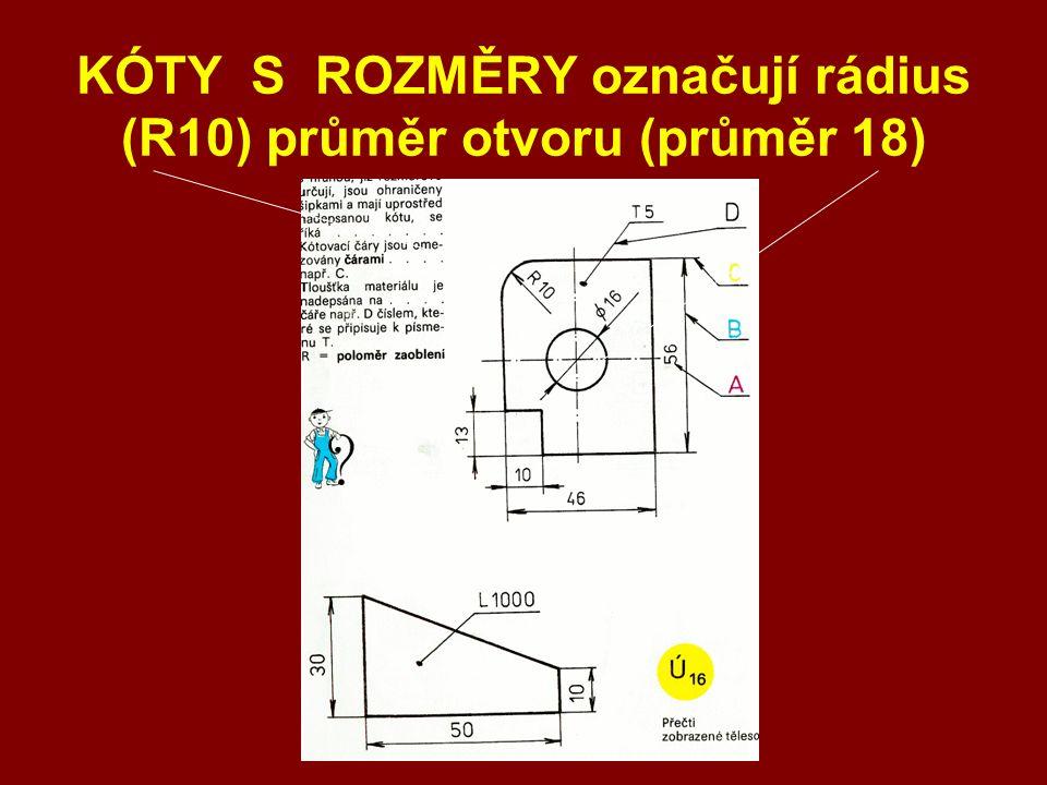 KÓTY S ROZMĚRY označují rádius (R10) průměr otvoru (průměr 18)