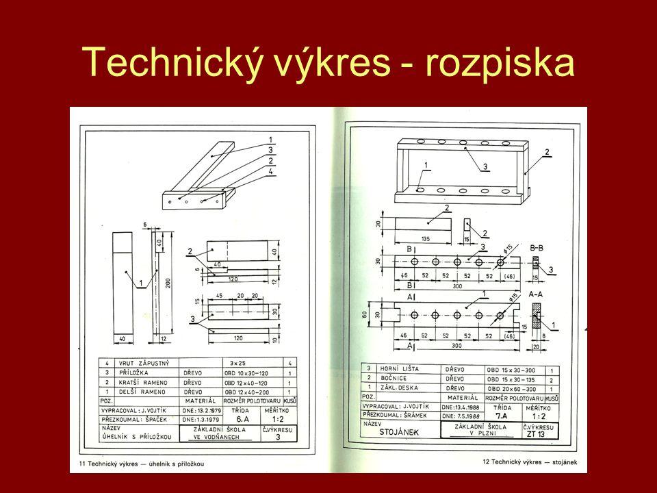 Technický výkres - rozpiska