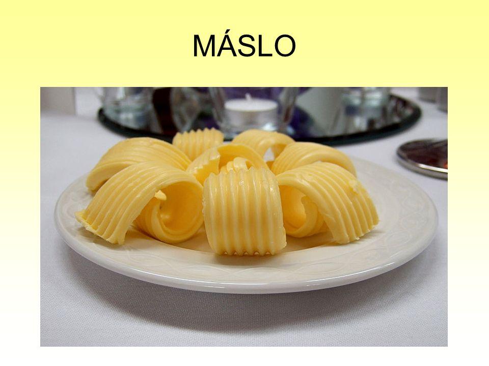 DRUHY MÁSLA Podle trvanlivosti: Čerstvé máslo – na obalu musí být slovo čerstvé a toto máslo má trvanlivost pouze 20 dnů od výroby, teplota skladování je max.