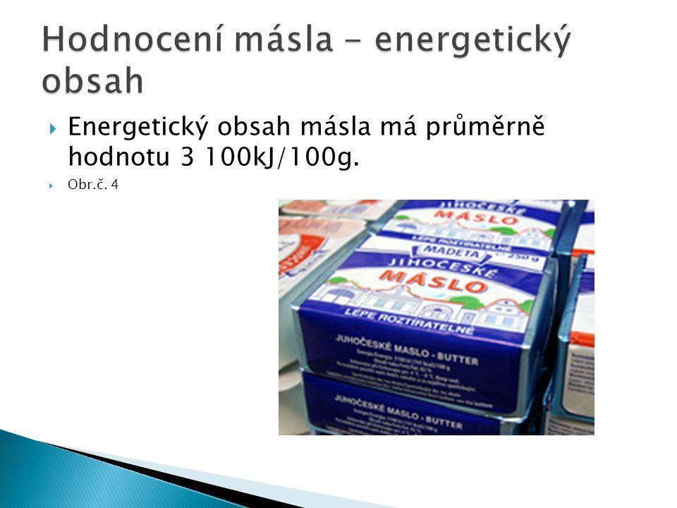  Energetický obsah másla má průměrně hodnotu 3 100kJ/100g.  Obr.č. 4