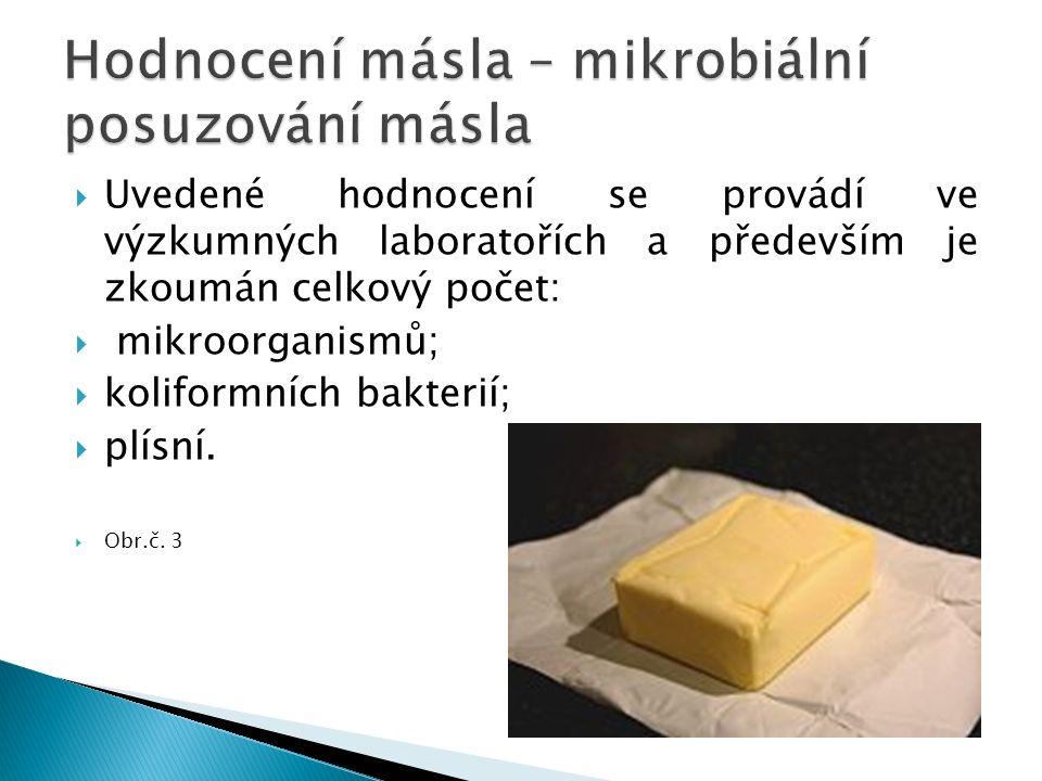  Uvedené hodnocení se provádí ve výzkumných laboratořích a především je zkoumán celkový počet:  mikroorganismů;  koliformních bakterií;  plísní.
