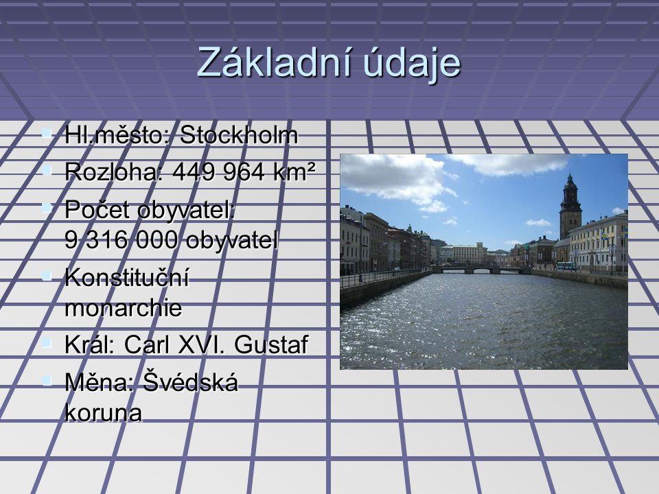 Základní údaje  Hl.město: Stockholm  Rozloha: 449 964 km²  Počet obyvatel: 9 316 000 obyvatel  Konstituční monarchie  Král: Carl XVI. Gustaf  Mě