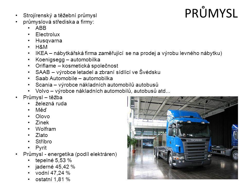 PRŮMYSL Strojírenský a těžební průmysl průmyslová střediska a firmy: ABB Electrolux Husqvarna H&M IKEA – nábytkářská firma zaměřující se na prodej a výrobu levného nábytku) Koenigsegg – automobilka Oriflame – kosmetická společnost SAAB – výrobce letadel a zbraní sídlící ve Švédsku Saab Automobile – automobilka Scania – výrobce nákladních automobilů autobusů Volvo – výrobce nákladních automobilů, autobusů atd...